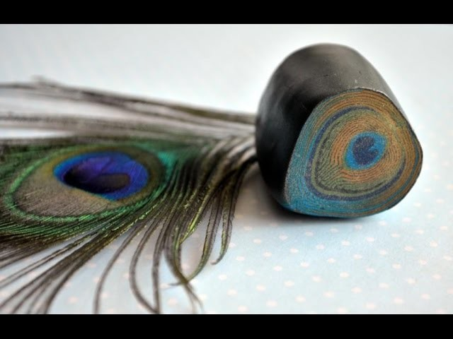 ПОЛИМЕРНАЯ ГЛИНА Трость Перо павлина Cane peacock feather from polymer clay