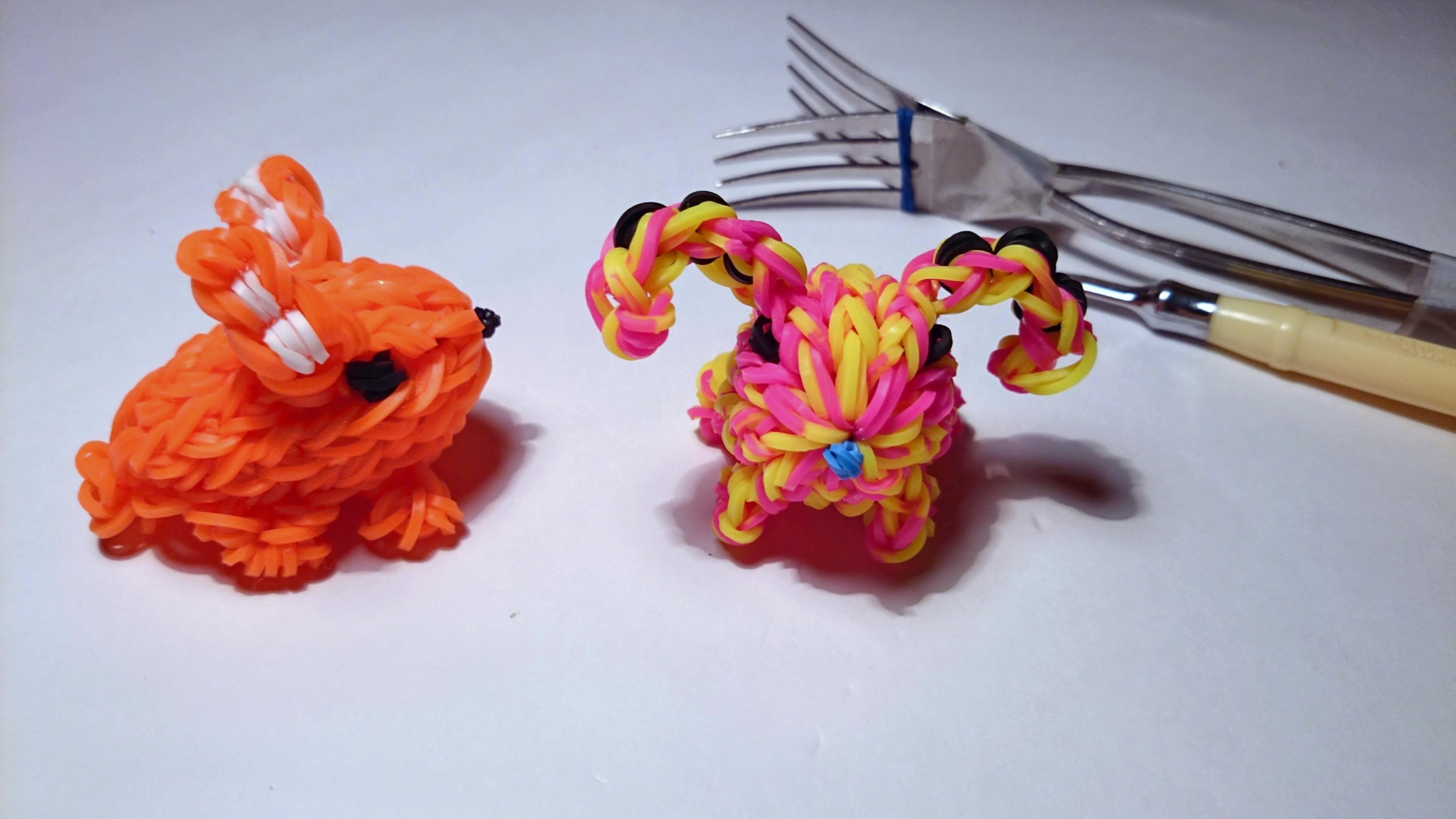 3d КРОЛИК, Без станка, Радужки Rainbow Loom, My Crafts and DIY Projects