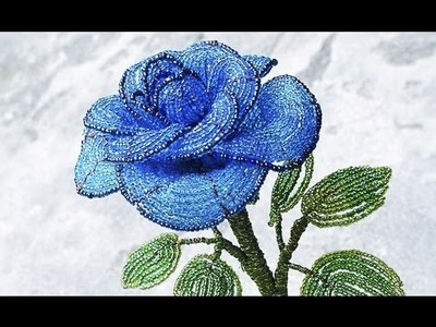 PART 2 tutorial: blue rose out of beads (Как cделать синюю розу из бисера)