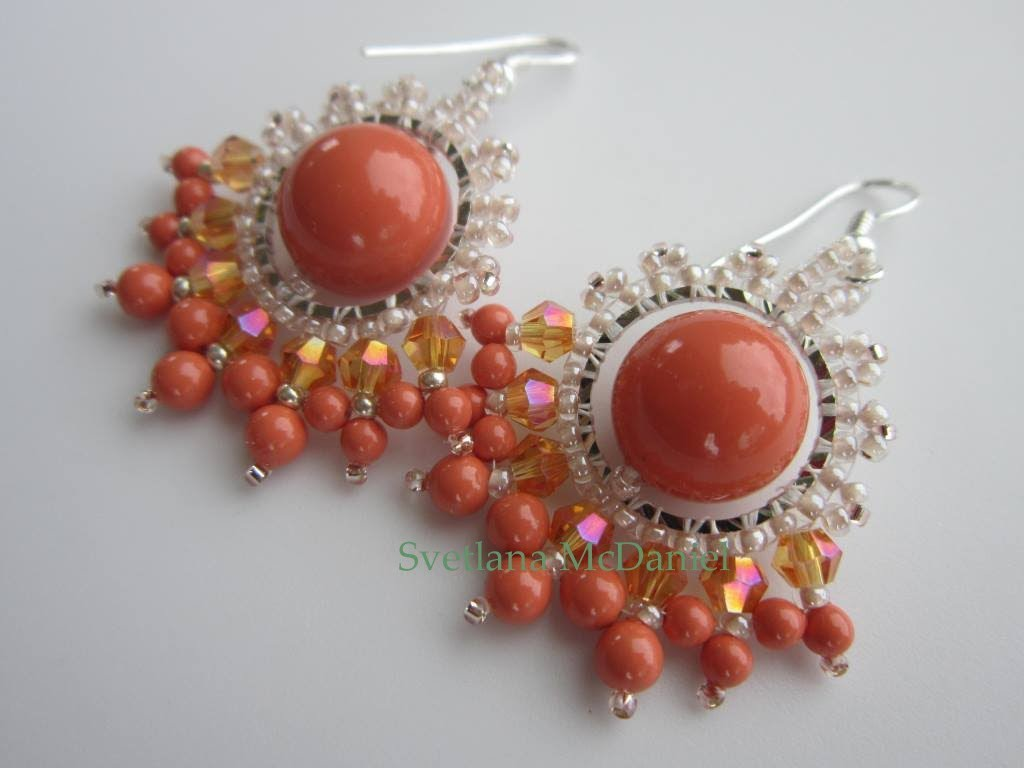 Coral Earrings  . Коралловые серьги  .