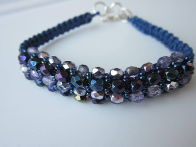 Shamballa Bracelet . Faceted Beads and Seed Beads. Браслет в стиле Шамбала .