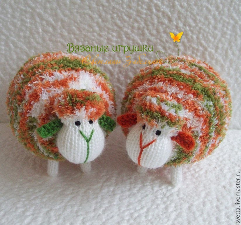 Вязаные овечки - символ 2015 года. Knitted lamb - symbol of the year