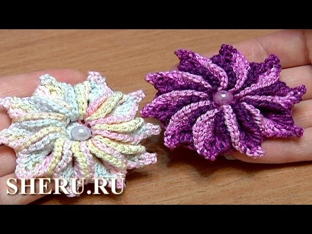Crochet 3D Flower Patterns Tutorial 47 Вязание цветка