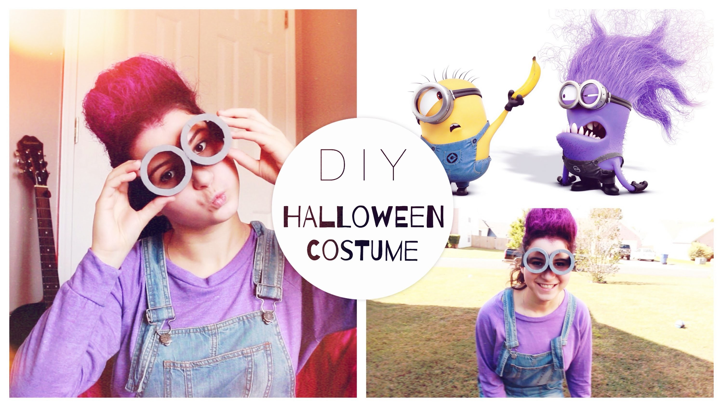 DIY: костюм на Хэллоуин-Злой Миньон + прическа | DIY PURPLE MINION HALLOWEEN COSTUME