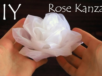 Белая роза из органзы. Kanzashi Rose Tutorial