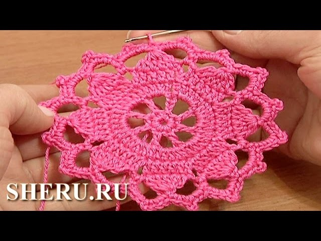 Crochet Round Motif Lace Tape  Tutorial 7 часть 1 из 2 Техника ленточное кружево
