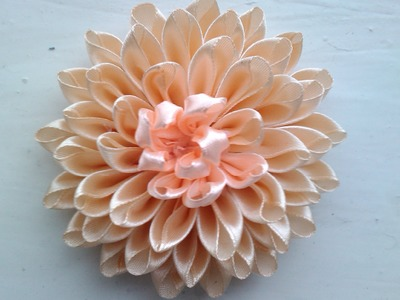 Хризантема Канзаши  DIY Kanzashi Flowers Часть 3