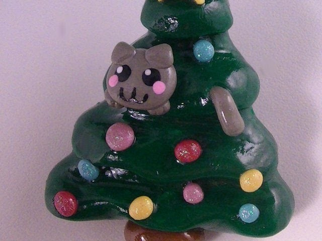 Polymer Clay -- Christmas Kitty In A Tree