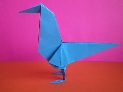 Оригами птица ворона. how to make an origami bird crow paper