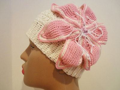 Шапочка с лилией Ч-1 Hat with a lily Crochet P-1