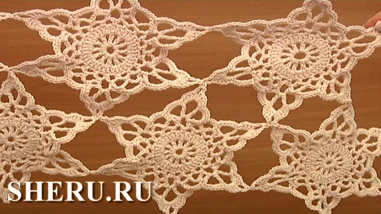 Joining Crochet Snowflake Motifs Урок 13 часть 2 из 2 Ажурный мотив в виде снежинки