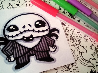 Halloween Drawings - How To Draw Cute Jack Skellington by Garbi KW