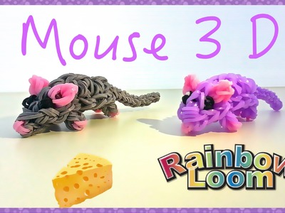 """Мышка 3D"" из резинок ""Mouse"" tutorial DIY Rainbow loom bands"