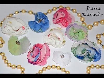 DIY Цветы из органзы на пинах для украшений. Мастер класс \ Flowers of organza on pinah