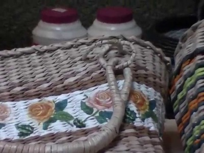 How to weave a bag with newspaper tubes.  Part 4.  Ways of fixing of holders