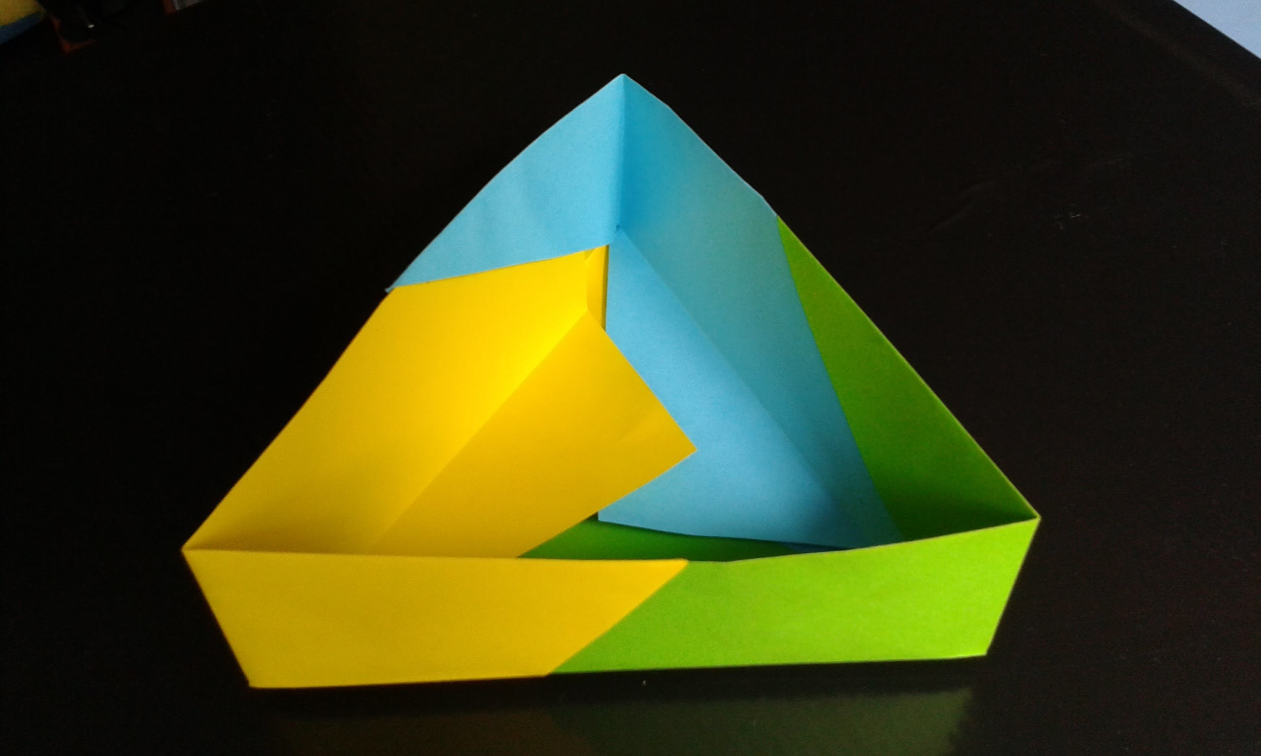 Paper triangle box origami