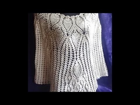 Кофточка с ананасами . Часть 1.Crochet blouse with pineapple