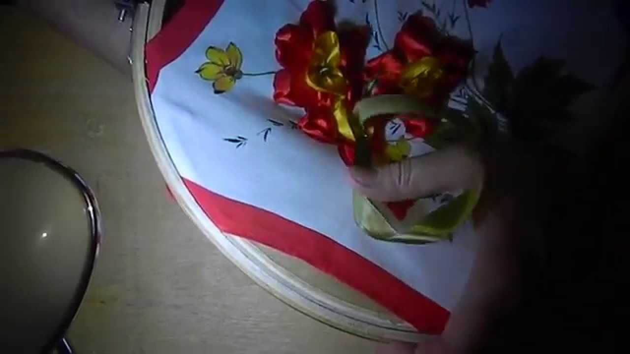 DIY Panels of roses of satin ribbons, (панно из роз) part 5