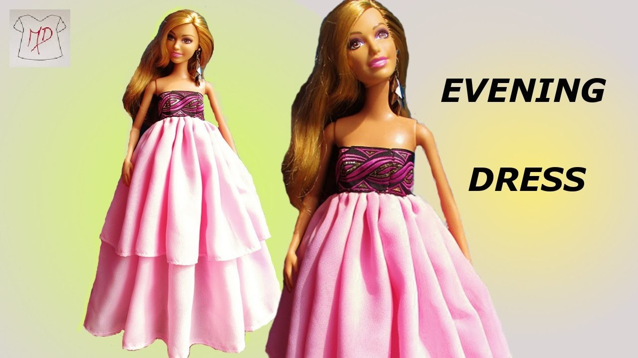 BARBIE DOLL- HOW TO MAKE -EVENING DRESS EASY