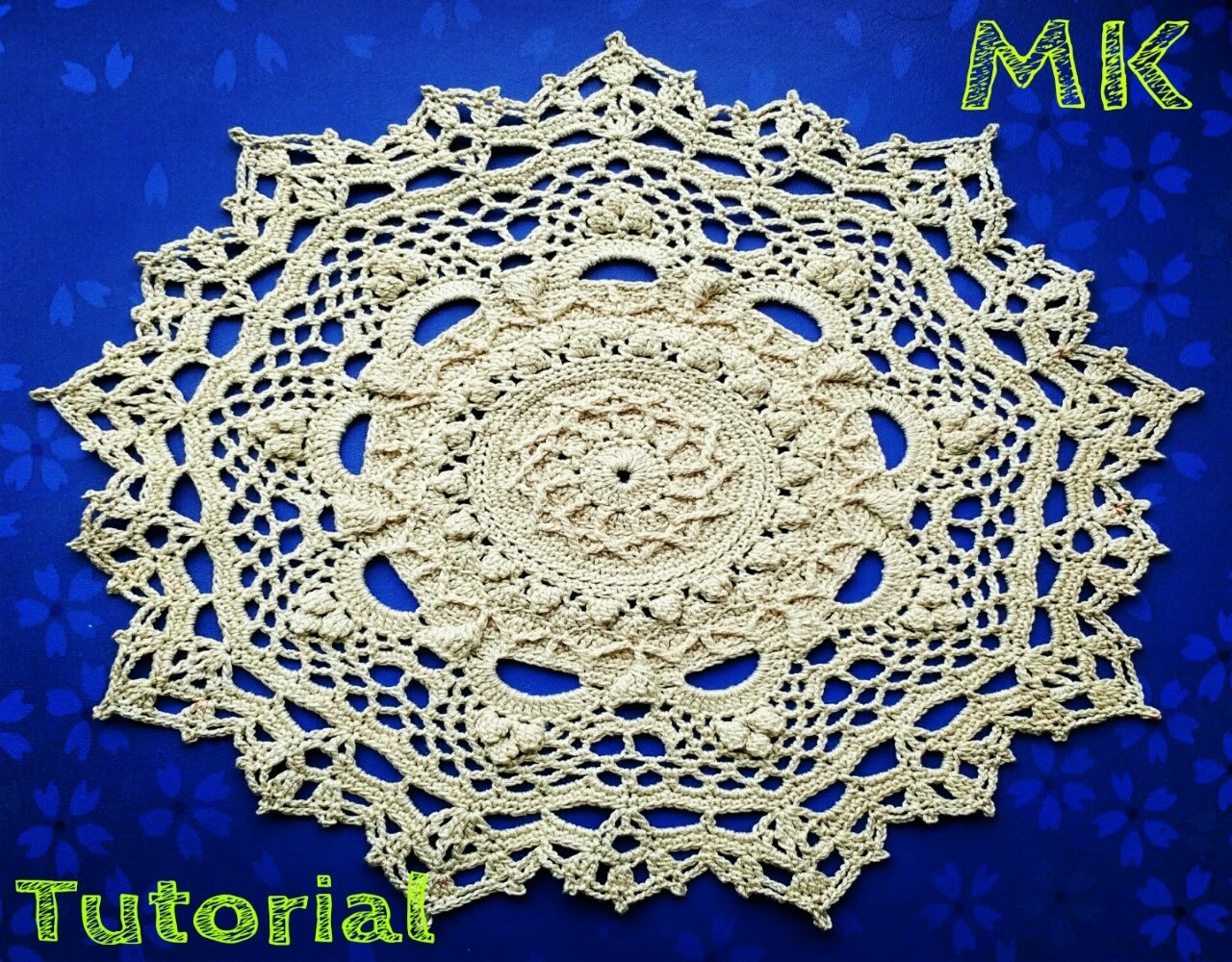 "МК салфетка ""Эмили"" 24-25 ряды How to crochet doily ""Emily""24-25 rows"