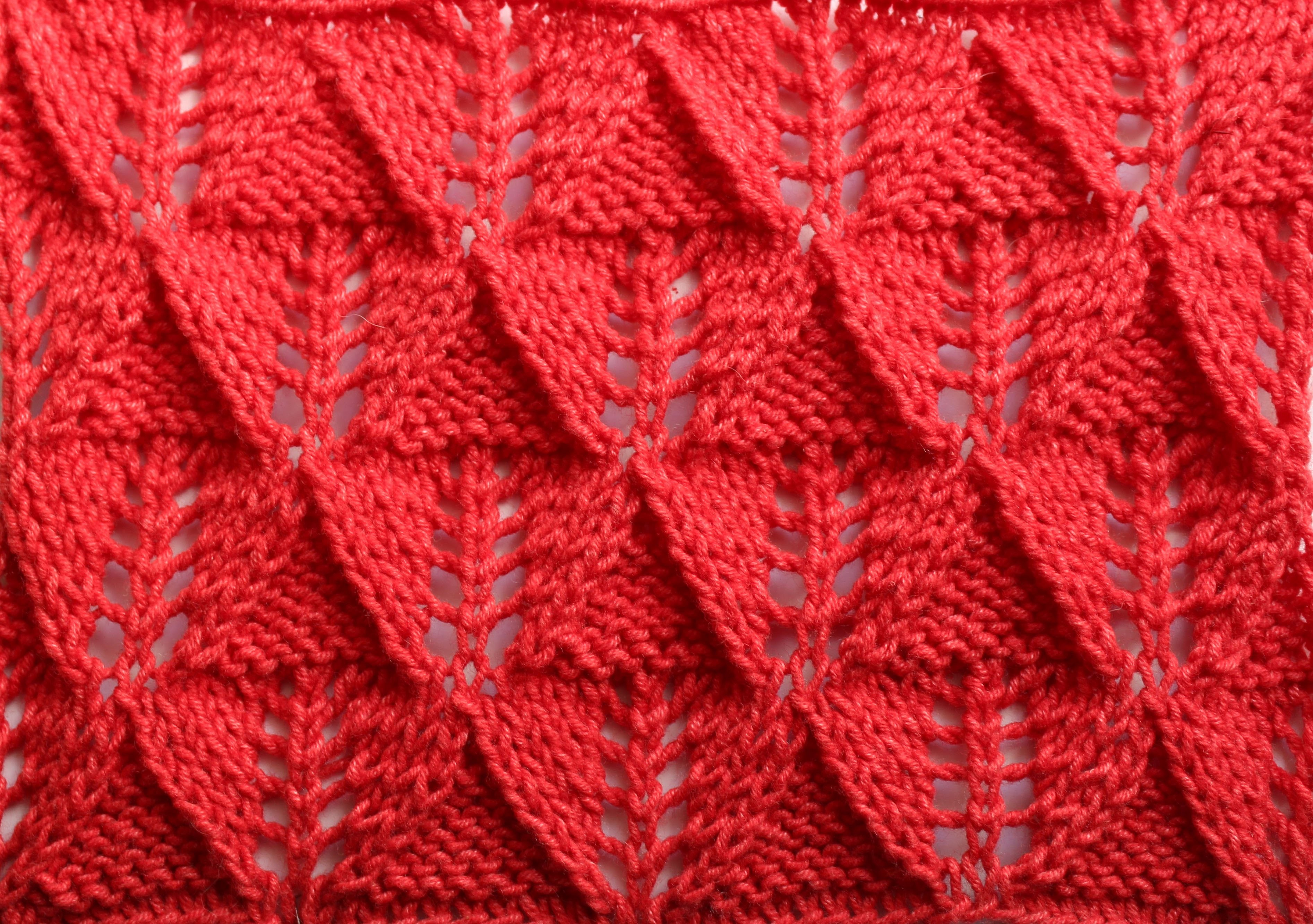 How to Knit the Leaf Stitch_Ажурный узор
