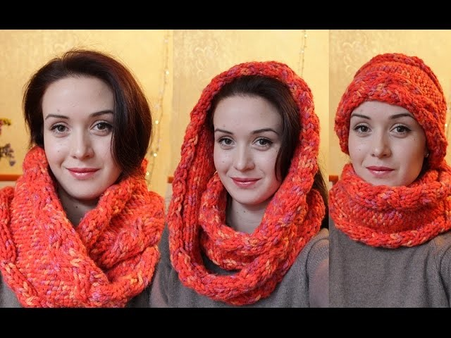 How to Knit an Infinity Scarf_Снуд с косами
