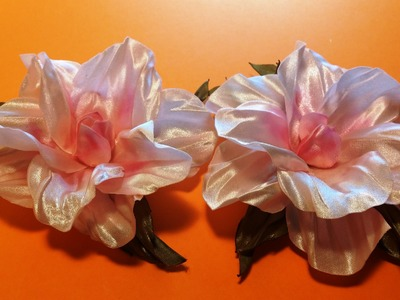 Preview: Fabric flowers how to make.satin ribbons hibiscus.Анонс.Цветы из лент:розовый гибискус