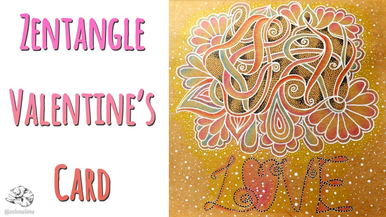 How to make Valentine Card | Zentangle Ideas | Doodle Love