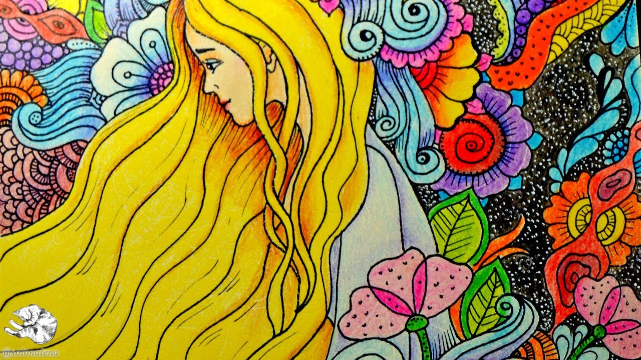 How to draw Doodle Girl with Zentangle Flowers | Doodling Art