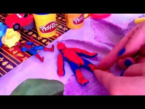 Человек паук.DIY play doh spider men.Tutorials.play doh.marvel heroes