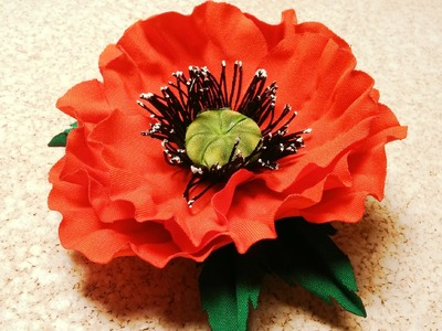 Fabric flowers how to make:poppy flower from fabric.tutorial.Цветы из ткани: немнущийся мак.МК