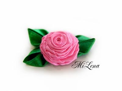 Крученая роза. Роза из ленты. DIY Rolled Ribbon Rose Tutorial. How to make rolled ribbon roses