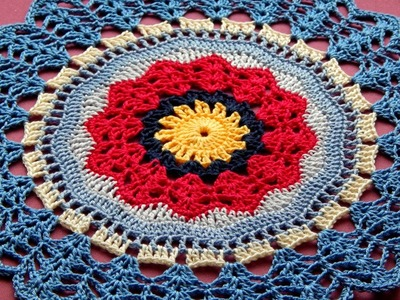 Easy Сrochet  Rug  Mandala  Doily Tutorial Part 3