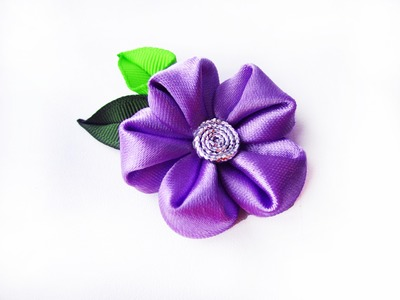 Листик из ленты. Leaves kanzashi . Вывернутый лепесток.Handmade leaf tutorial.