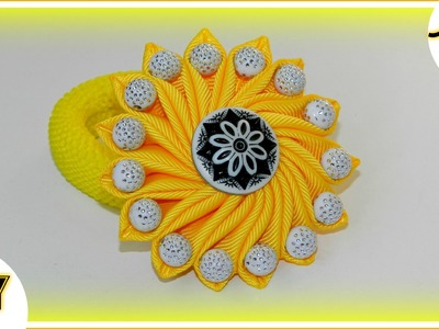 DIY: Солнечный  бантик с бусинами.Sunny bow with beads