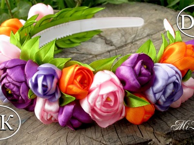 Ободок-венок с цветами, МК. DIY Hairband with Flowers. DIY Flowers Headband