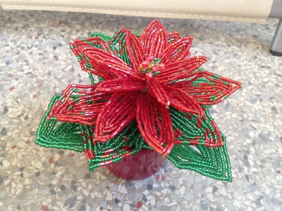 Рождественская звезда из бисера. Часть 2.2. Poinsettia out of beads. Part 2.2.
