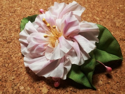Fabric flowers how to make:half-shibori taffeta flowers.Цветы из ткани:тафта,