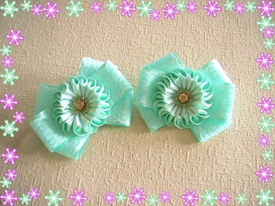 "Бантики ""Мятные зефирки"".Bows ""Mint marshmallows"".Kanzashi.DIY.Tutorial"