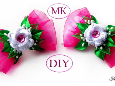 Бантики с цветком канзаши, МК. DIY Ribbon Bows with Kanzashi Flowers. DIY Kanzashi Bow
