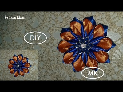 DIY.How to.Tutorial.Kanzashi flower.Ribbon flower.Flor de cinta.MK.канзаши: bricoart.kam