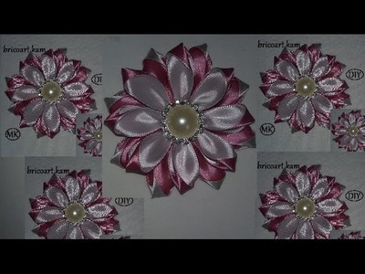 DIY.MK.Tutorial.Kanzashi.Ribbon flower.Flor de cinta.Цветы из лент.канзаши: bricoart.kam