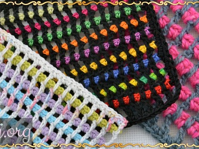 Пестрый узор крючком. How to crochet the multicolour filet mesh.