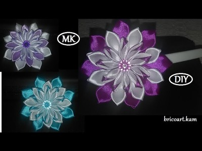 DIY.How to.Kanzashi.Ribbon flower tutoriel.Flor de cinta.MK.канзаши: bricoart.kam