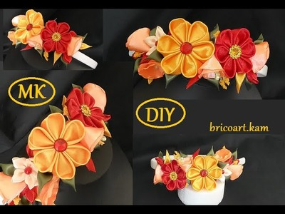 DIY.Kanzashi.Autumn Headband.Ribbon flower tutorial.Flor de cinta.MK.канзаши: bricoart.kam