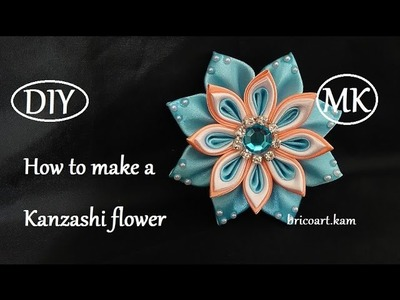 DIY.How to.Kanzashi flower tutorial.Ribbon flower.Flor de cinta.MK.канзаши: bricoart.kam