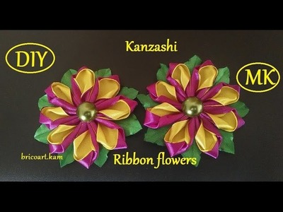 DIY.Kanzashi flower tutorial.Ribbon flower.Flor en cinta.MK.канзаши: bricoart.kam