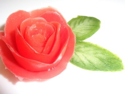 HOW TO MAKE TOMATO ROSE. CUCUMBER LEAVES. VEGETABLES CARVING