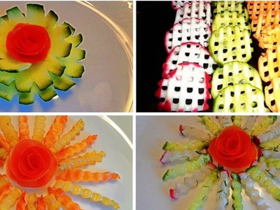 HOW TO MAKE VEGETABLES GARNISHES  & CUCUMBER CARVING. CARROT CARVING. TOMATO CARVING. RADISH CARVING
