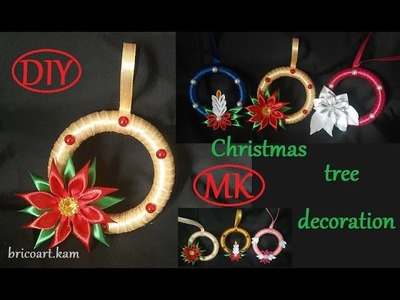 DIY.Christmas tree decoration tutorial.Kanzashi flower.MK.канзаши: bricoart.kam
